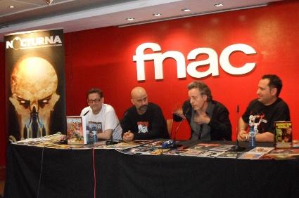 Mesa redonda sobre fanzines. De izda. a dcha.: Txemita Picapiedra (Neutrón), Antonio Busquets (moderador), Javier Castellanos (Exhumed Movies) y David García (MonsterWorld).