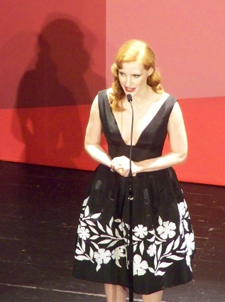 "Jessica Chastain presentando el film ""The Disappearance of Eleanor Rigby""."