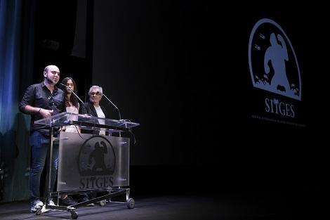 """Marc junto a Clàudia Pons y Luís Marco, protagonistas de """"Asmodexia"""", durante su presentación en el pasado Festival de Sitges."""