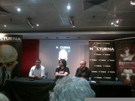 """De izda. a dcha.: Ángel Mora, Luis Rosales y Víctor Matellano durante la presentación de """"Vampyres"""" en la pasada edición de Nocturna."""