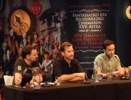 Junto a Josemi Beltrán durante la rueda de prensa celebrada como motivo del pase de V/H/S Viral.