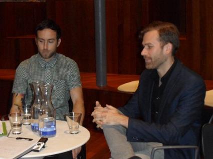 Justin y Aaron en un momento de la entrevista.