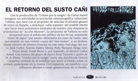 """Nota aparecida en """"Fantastic Magazine"""" informando sobre la, finalmente, nonata película """"Unidos por la sangre"""" que debiera de haber dirigido Aured sobre guion de Miguel Ángel."""