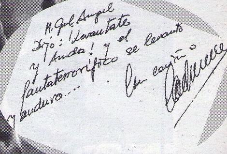 """Dedicatoria de Carlos Aured a Miguel Ángel, reproducida en el mítico monográfico dedicado por """"Flash-Back"""" al cine fantástico español."""