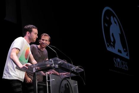 """Aaron Moorhead y Justin Benson durante la presentación de """"Spring"""" en el Auditori."""