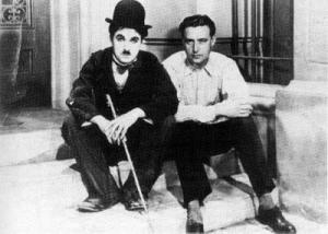 Con Chaplin en Hollywood.