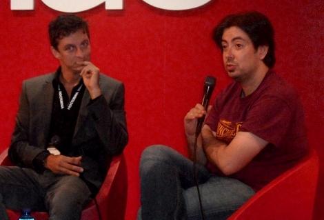"""Gez junto al director de """"Nocturna"""", Luis Rosales, durante la rueda de prensa de su película."""