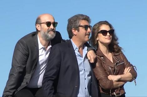 """Photocall de """"Truman"""" con los actores Javier Cámara, Ricardo Darín y Dolores Fonzi."""