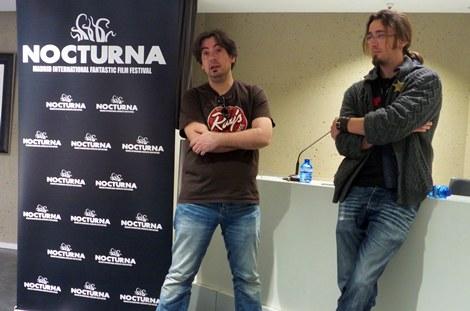 """Luis Rosales junto a Marc Lahorre en un momento de la rueda de prensa de """"The Open"""" en NOCTURNA."""