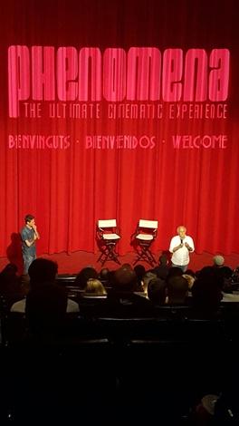 """Ruggero con Diego López durante el coloquio posterior al pase de """"Holocausto caníbal"""" en Phenomena."""