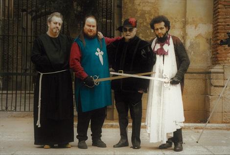 Luciano Berriatúa, Santiago Segura, Paul Naschy y Manuel Tallafé. Rodaje Los Resucitados