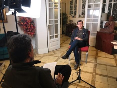 Momento de la entrevista a Ángel Sala